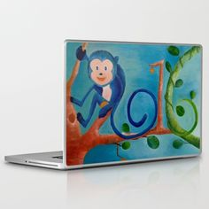 """""""Blue Monkey"""", Oil Painting, available in a variety of products"""