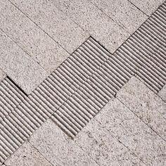 White granite pavement detail of stormwater management facilities, Director Park, Portland, Oregon.