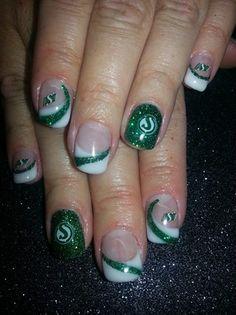 Saskatchewan Bling by NoRepeats Nail Art Gallery nailartgallery.na by Nails Green Nail Designs, Popular Nail Designs, Nail Art Designs, Football Nail Designs, Football Nails, Spring Nail Trends, Spring Nail Art, Nail Art Hacks, Nail Art Diy