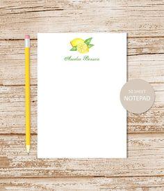 personalized lemon note pad WATERCOLOR by CelebrateLilThings