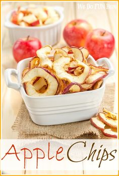 Healthy Apple Chips Snacks--These baked apple chips make a perfect fall snack! They are incredibly simple to make and they taste great! The crispy thin apple, sprinkled with sugar & spice or just plain!