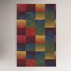 One of my favorite discoveries at WorldMarket.com: Boxes Wool Tufted Rug, Multicolor