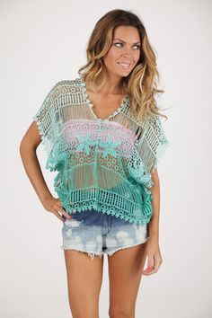 Ombre Crochet Soie Shop Top