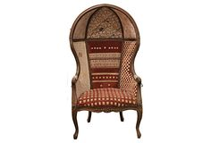 Dome à la Bohémienne-large dome chair made with vintage fabrics gathered during travels around the world
