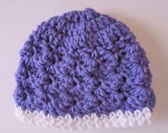 Crocheted Baby Hat, 0-3 Month Hat, Purple Baby Hat, Baby Shower Gift, Crochet Girl Hat