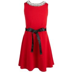 Monteau Girl 7-16 Jeweled Neck Christmas Holiday Dress ($35) ❤ liked on Polyvore featuring dresses, monteau dress, jewel neck dress, monteau, red dress and jeweled neckline dress