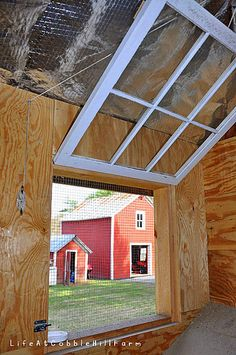 Lke the windown inside with hinges and cleat  * Lovely Greens *: Building a Permanent Chicken Coop