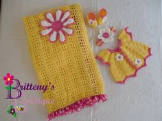 Crochet Baby Blanket Sweater Hat and Booties by BrittenysBoutique