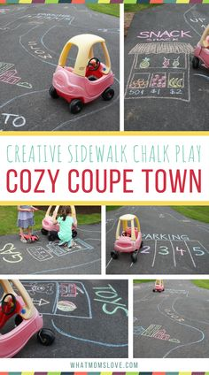 Sidewalk Chalk Ideas for kids | Summer outdoor activities for Preschool and Toddlers | Fun creative play using your driveway or walkway - a town for your Cozy Coupe!