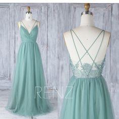 Bridesmaid Dress Dusty Green Tulle Wedding DressSpaghetti