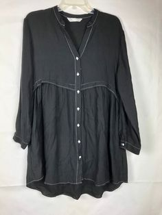 784dfedd730888 Zara Women's Black Button Down Tunic Top Size M Long Sleeve Mini Dress  V-neck