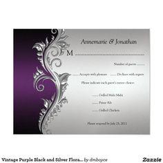 """RSVP floral negro del vintage y de plata púrpura Invitación 4.25"""" X 5.5"""""""