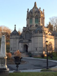 Gorgeous structure just past the main entrance. Greenwood Cemetery, Goth Subculture, Main Entrance, Horror Films, Barcelona Cathedral, Notre Dame, Taj Mahal, Past, Maine