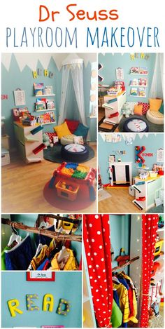 DR SEUSS INSPIRED I really enjoyed this playroom makeover! It was inspired by Dr suess with a dash of Alice in WonderlandI really enjoyed this playroom makeover! It was inspired by Dr suess with a dash of Alice in Wonderland Playroom Design, Playroom Decor, Playroom Ideas, Childminders Playroom, Playroom For Toddlers, Playroom Seating, Dress Up Area, Dr. Seuss, Colorful Playroom