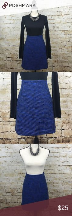 """LOFT Cotton Wool Skirt Ann Taylor Loft royal blue wool skirt. NWOT. 80/20:cotton/polyester. Waist measures 14"""" laying flat and is 18"""" in length. Pair with the Splendid top in the picture (found in my listings) for a chic holiday party look! LOFT Skirts Mini"""