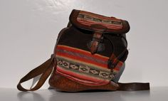 HIPPIE vintage fabric leather BACKPACK tote rucksack back pack ruck sack. $49.50, via Etsy.