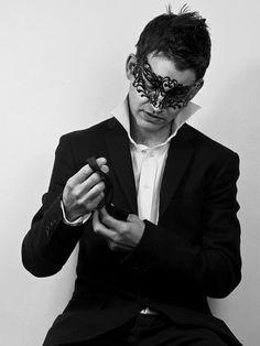 Black Laser Cut Metal Mask www.venicebuysmasks.com