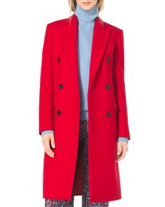 Michael Kors Double-Breasted Wool Coat, Women's, Size: 8, Red