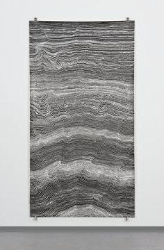 Sophie Tottie. Written Language (line drawings) XVI; pigmented ink on paper, 216 x 113 cm. 2009.