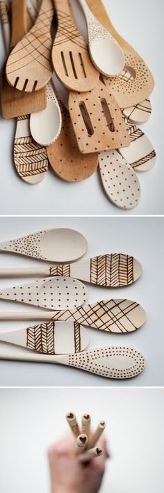 Bored on a rainy day? Feeling pretty crafty? Just get out that old Boy Scout Woodburning kit, and make some decorated wooden spoons for the kitchen! TIP 1: I found that a light sanding before wood burning made the spoons hold their design better. Then sand again after you're done. TIP 2: My family got excited about doing this. Buy lots of spoons, it's fun... ~ Houston Foodlovers