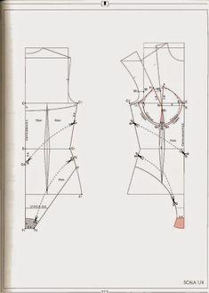 Motif Corset, Corset Sewing Pattern, Bra Pattern, Pattern Drafting, Underwear Pattern, Lingerie Patterns, Sewing Lingerie, Clothing Patterns, Pullover Shirt