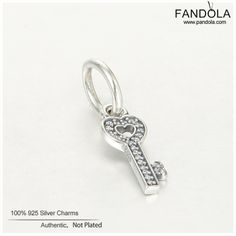 Lucky Key Dangle Charms 100% 925 Sterling Silver Beads for Jewelry Making DIY Pendant Fits European Charm Bracelets & Necklaces