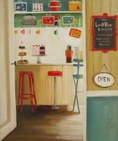 "Janet Hill: ""Lunchbox Cafe"", oil."