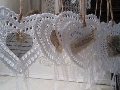 lovely hearts crocheted and adorned with bits and bobs