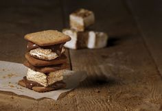 Sweet Ideas: Made-From-Scratch S'mores : Feast Magazine, St. Whole Food Desserts, Whole Food Recipes, Dessert Recipes, Recipes With Marshmallows, Roasting Marshmallows, Chef Recipes, Sweet Recipes, Homemade Graham Crackers, Mini Donuts
