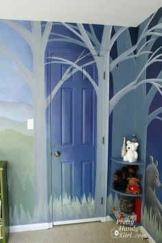 We noticed this outdoor-themed boy's bedroom because of the Home Depot quarter… Forest Room, Forest Mural, Stencil, Home Depot, Murals For Kids, Wall Murals, Wall Art, Street Art, Girls Bedroom