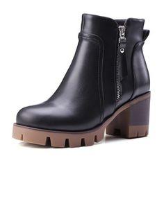 Zapatos Botas Botas al tobillo Tacón ancho Cuero