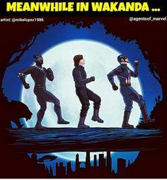 Hakuna Wakanda XD #blackpanther #t'challa #marvel #captainamerica #buckybarnes #steverogers ##wakanda #chrisevans #sebastianstan