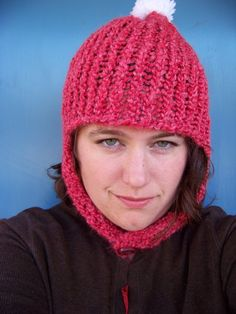 Red Knit Hat with Ear Flaps and Button and by jamiesierraknits, $20.00