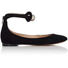 Chloé Women's Ball-Embellished Suede Flats (5.049.415 IDR) ❤ liked on Polyvore featuring shoes, flats, black, embellished flats, round toe flats, ankle tie flats, chloe flats and ankle strap flats