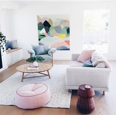 Bright open living space with hints of pastel
