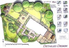 Unusual diagonal siting of a house reinforced by semi-circular and rectangular lawns (design by Suzie Nichols).
