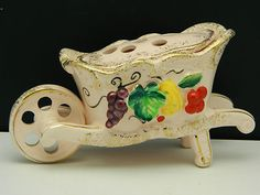 SOLD - Vintage Wheelbarrow Flower Frog Planter Vase - SOLD