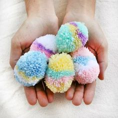 Make these adorable pastel egg pom-poms for Easter. Easy and fun step-by-step tutorial.