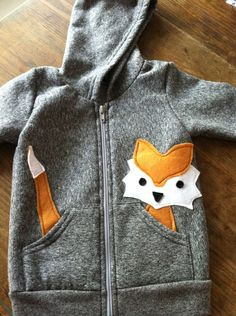 Fast Like a Fox Children's Hoodie:  Peppered Gray American Apparel Hoodie, Fox Brown Eco-Friendly. $38.00, via Etsy.