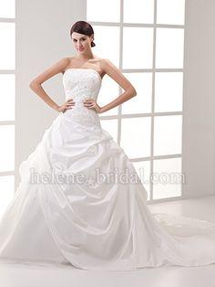 A-Line Ball Gown Strapless Asymmetrical Waist Taffeta Wedding Dress - US$ 289.99 - Style WD7771 - Helene Bridal