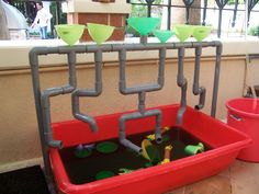 Our outdoor water play. Idea for a water sensory tub -try it w our fort stuff