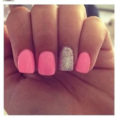 Girly pink manicure with gold glitter accent nails - Nail Art Designs Love Nails, How To Do Nails, Pretty Nails, My Nails, Teen Nails, Glitter Accent Nails, Sparkle Nails, Pink Glitter, Pink Sparkles