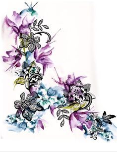 Lace with watercolor flowers. Very similar to the photo of the actual tattoo. The lace would need extending to cover existing tattoo.