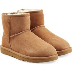 UGG Australia Classic Mini Suede Boots ($150) ❤ liked on Polyvore featuring shoes, boots, ankle booties, brown, round cap, suede leather boots, rounded toe boots, round toe boots and mini shoes