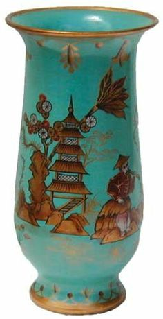 "Turquoise Chinoiserie vase - porcelain by Reorient. $25.00. Exclusive limited edition. Stylish and stately shape. Completely hand painted. Trendy color and traditional design creates an unique item. Size: 8""H, made in China. Beginning in the late 17th century western furniture and luxury designers, particularly in France, produced wares that were direct imitation of Chinese designs.  The style was called ""Chinoiserie."" Today the cycle has come full circle as C..."