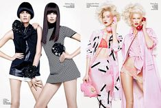 Double Vision – The models are twice as nice in V Magazine's spring 2013 edition. Stylist Tom van Dorpe cleverly turns Constance Jablonski, Cora Emmanuel, Liu Wen, Catherine McNeil, Mirte Maas, Hanne Gaby Odiele, Bette Franke, Alana Zimmer, Kasia Struss, Marie Piovesan and Sam Rollinson into convincing sets of fashion forward twins. Photographer Sharif Hamza was on hand to capture all the fun for this playful spread