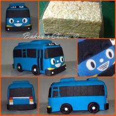 Little Bus Tayo 3rd Birthday Cakes, 5th Birthday Party Ideas, 1st Boy Birthday, Fondant Cake Tutorial, Cake Topper Tutorial, Baby Boy Cakes, Cakes For Boys, Kids Party Treats, Bus Cake
