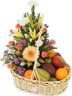 Fruit and Flower Basket - Florist Jakarta - Online Flower Shop :: Hotline Pin BB: Fruit Flower Basket, Fruit Flowers, Fruits Basket, Tropical Floral Arrangements, Edible Arrangements, Flower Arrangements, Basket Crafts, Gift Baskets, Edible Fruit Baskets