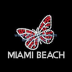 Miami Beach Butterfly Rhinestone Transfer Designs For t-Shirt
