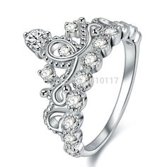 New Crown Ring 925 Sterling Silver Wedding Ring For Women Princess Cut Engagement Band Size 5 6 7 8 9
